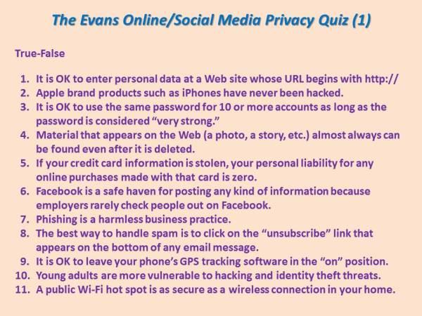Privacy Quiz 1